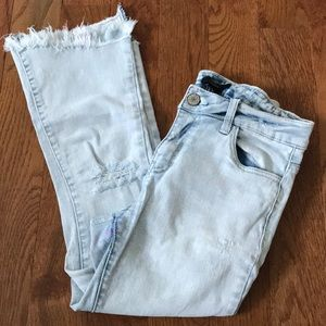 F21 cropped jeans with frayed hem